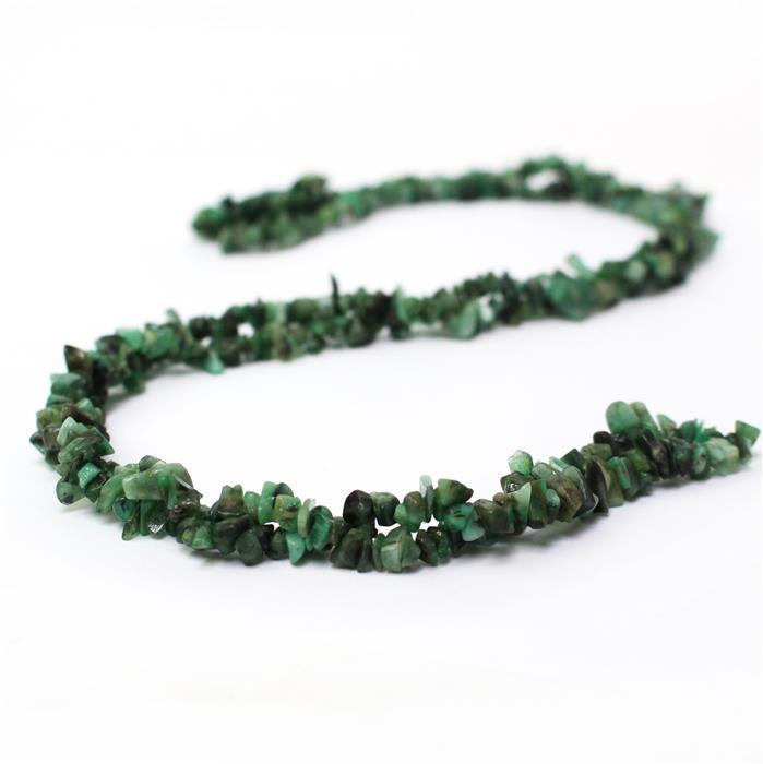 170cts Emerald Plain Small Nuggets Approx 2x1 to 9x3mm, 98cm Strand.
