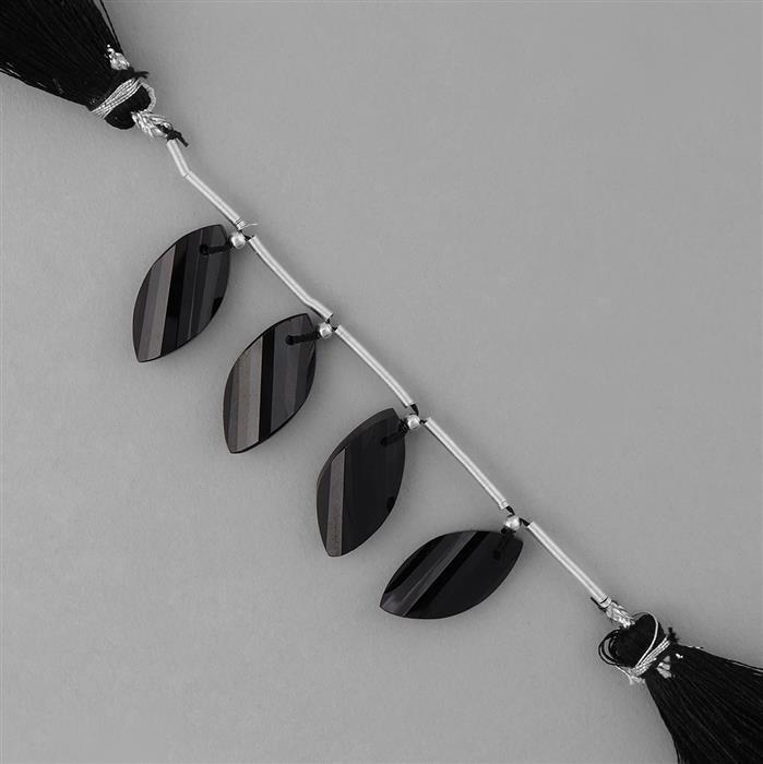 45cts Black Spinel Faceted Twisted Marquise Approx 20x10mm, 5cm Strand.