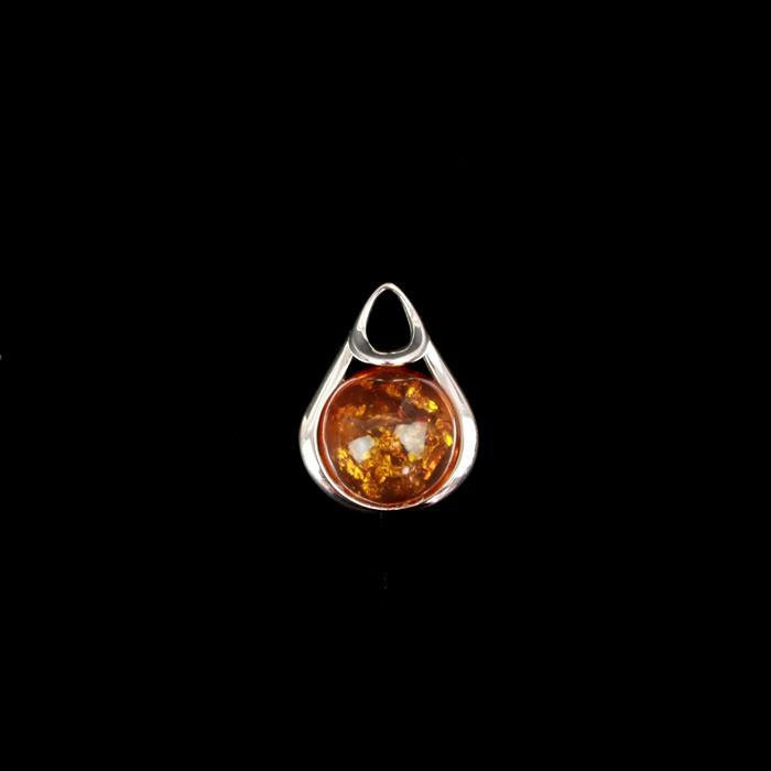 Baltic Cognac Amber Sterling Silver Drop Pendant Approx  25x19mm