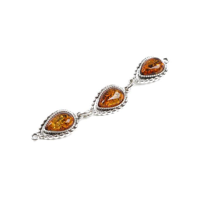 Baltic Cognac Amber Sterling Silver 3-Piece Connector Approx 57x9mm