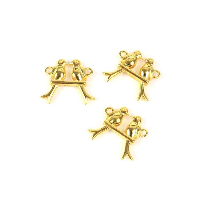 Gold Plated 925 Sterling Silver Love Birds on a Swing Connectors Approx 12x14mm 3pcs