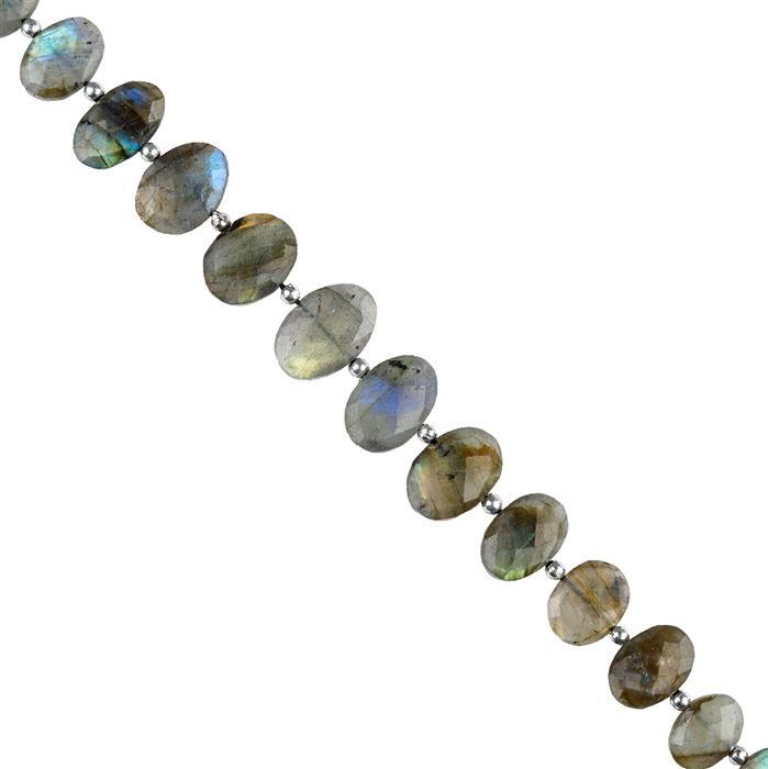 108cts Labradorite Graduated Faceted Center Drilled Ovals Approx 12x9 to 18x12mm, 18cm Strand.