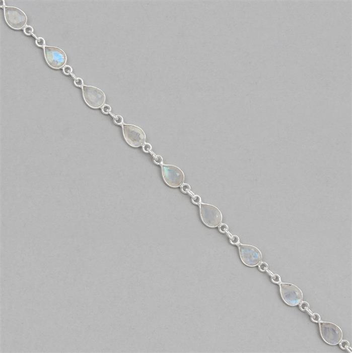 925 Sterling Silver Gemstone Bezel Chain Approx 14x6mm Inc. 19cts Rainbow Moonstone Faceted Pear Approx 7x5mm, Length Approx 50cm
