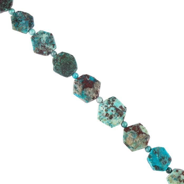 105cts Natural Chrysocolla Graduated Matte Finished Hexagons Approx 12 to 17mm, 18cm Strand.