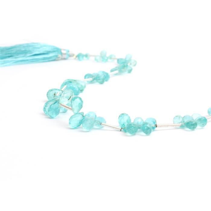 32.5cts Sky Blue Apatite Graduated Faceted Drops Approx 4x3 to 7x4mm, 18cm Strand.