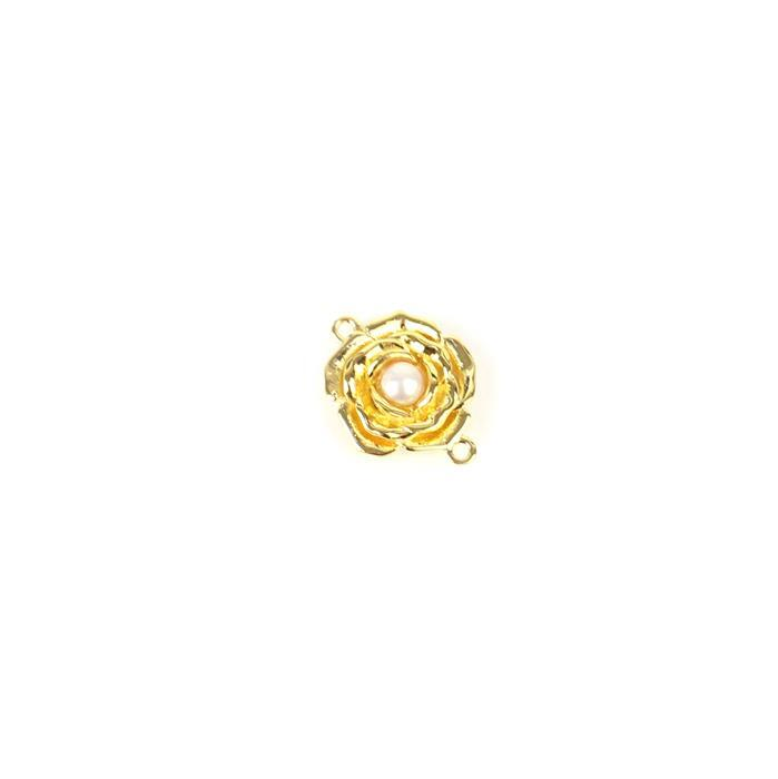 Gold Plated 925 Sterling Silver 3D Rose Connector with Freshwater Cultured Pearl Centre Approx 12x15mm, 1pc