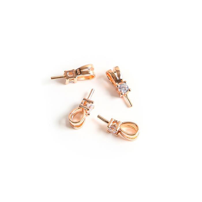Rose Gold Plated 925 Sterling Silver Pendant Bail With Peg & Cubic Zirconia Approx 4x13mm(4pcs)