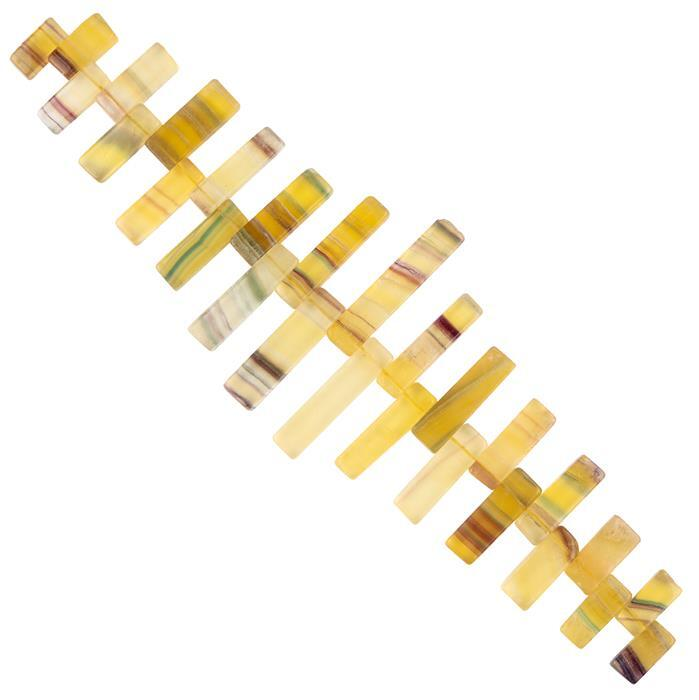 342cts Banded Yellow Fluorite Graduated Plain Bars Approx 10x5 to 32x7mm, 18cm Strand.