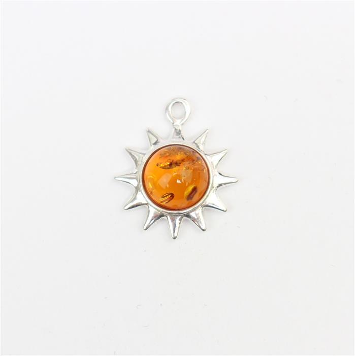 Baltic Cognac Amber Sun Charm Approx 15x17mm Sterling Silver