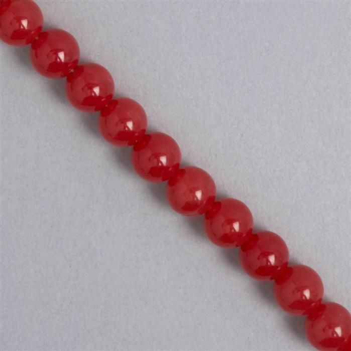 250cts Orange Colour Dyed Quartz Plain Rounds Approx 10mm, 35cm Strand.