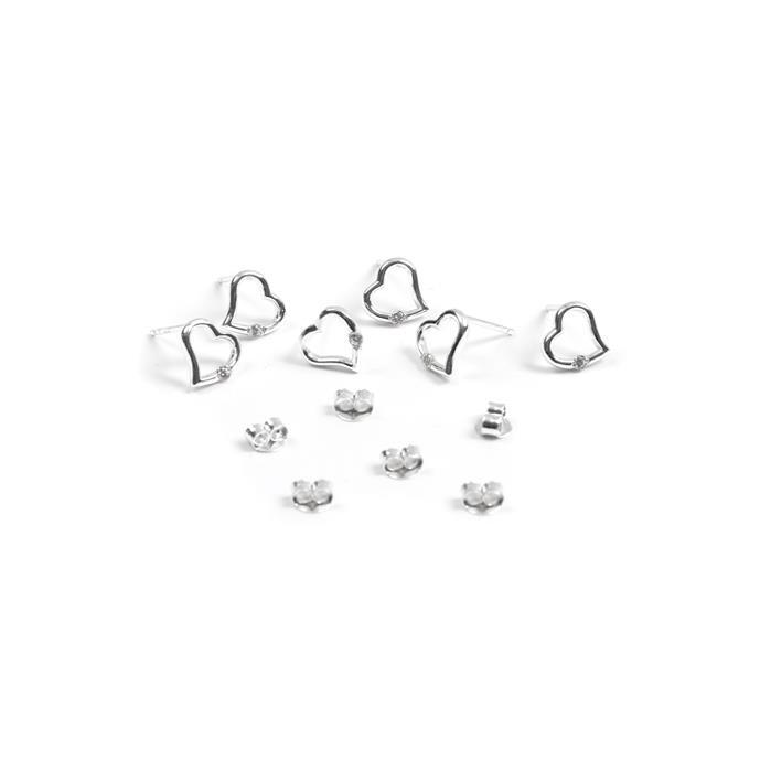 925 Sterling Silver My CZ Heart Earrings with Butterfly Back Approx 9mm 3 Pairs