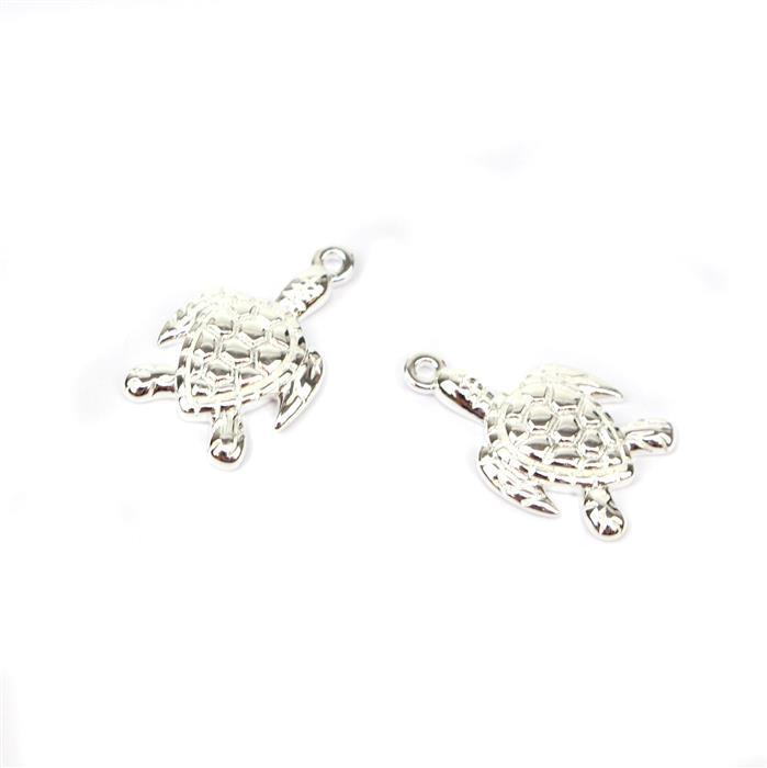925 Sterling Silver Turtle Charms Approx 17x10mm 2pk