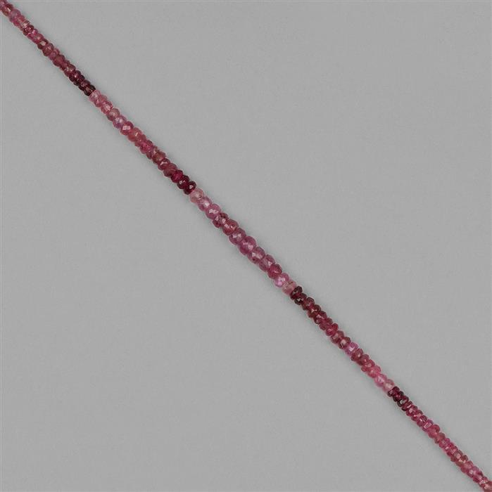 25cts Ombre Pink Tourmaline Graduated Faceted Rondelles Approx 2x1 to 4x3mm, 18cm Strand.