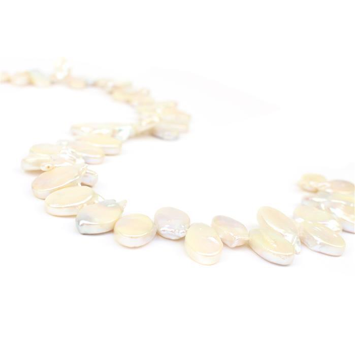White Freshwater Cultured Pearl Top Drilled Oval Approx 12x18mm, 38cm Strand