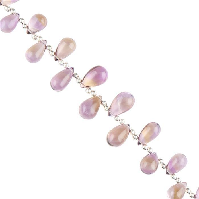45cts Ametrine Graduated Plain Drops Approx 8x5 to 12x8mm, 12cm Strand.