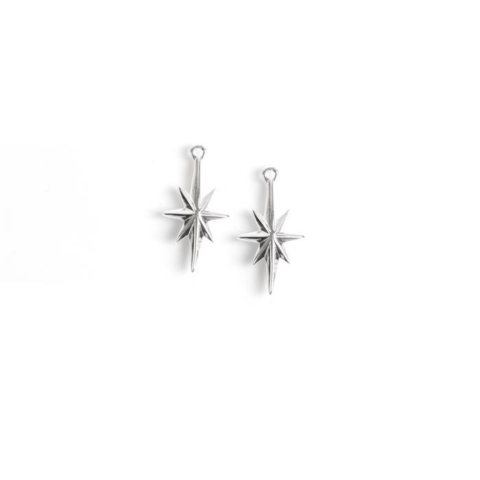 925 Sterling Silver North Star Charms Approx 18x10mm 2pcs