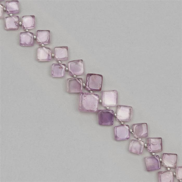 160cts Amethyst Graduated Plain Cushions Approx 4 to 11mm, 38cm Strand.