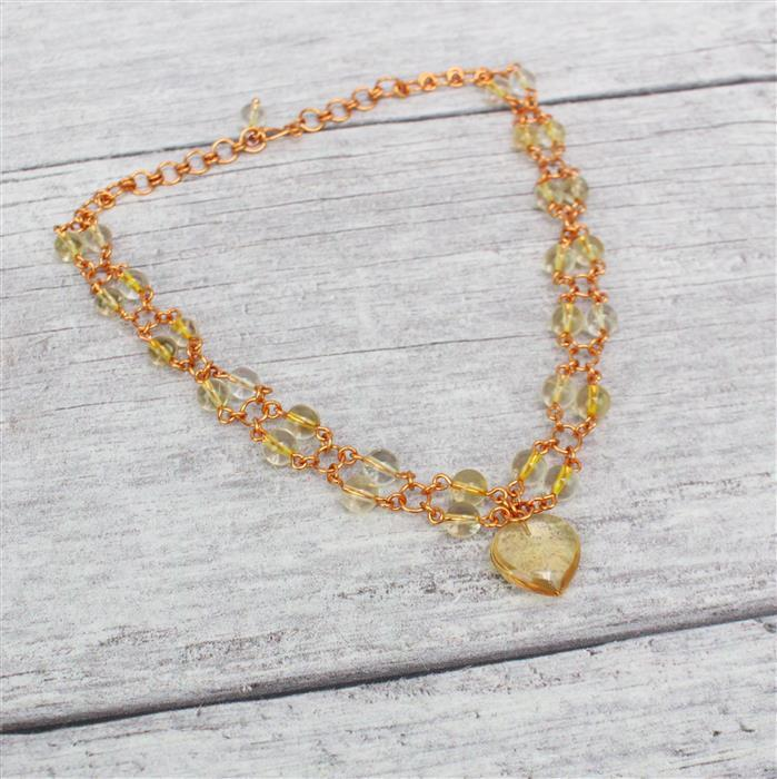 Daffodil: Citrine 6mm rounds & an 11cts Citrine puffy heart with 0.4mm & 1.0mm copper wire