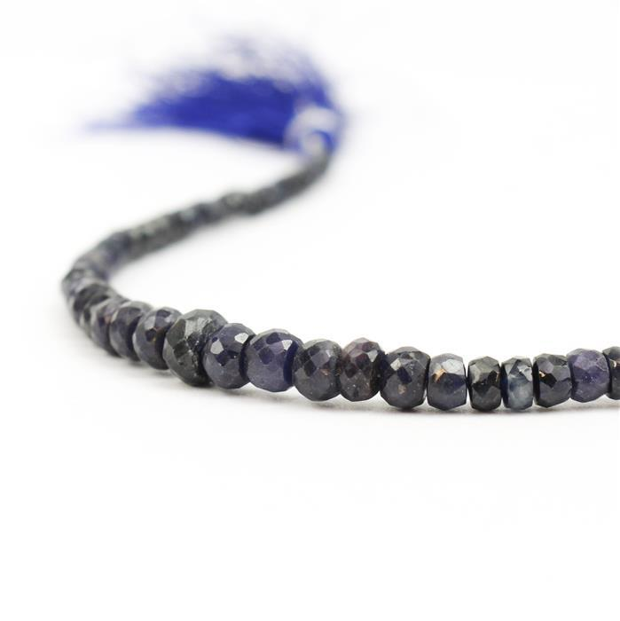 45cts Blue Sapphire Graduated Faceted Rondelles Approx 2x1 to 6x4mm, 19cm Strand.
