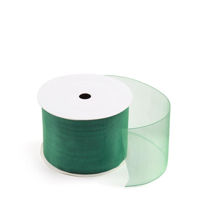 20m Forest Green Organza Ribbon, Width Approx 50mm