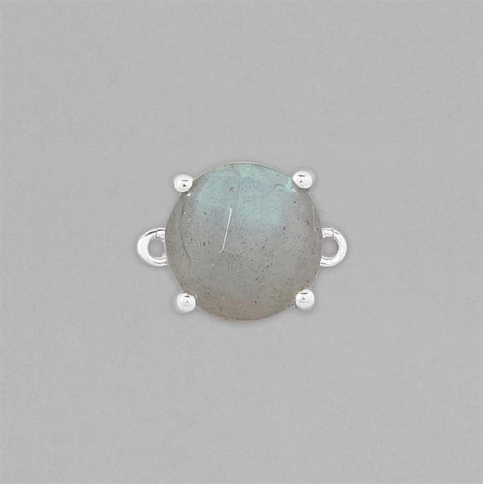 925 Sterling Silver Gemset Connector Approx 12x10mm Inc. 3.3cts Labradorite Checkerboard Cut Round Approx 10mm