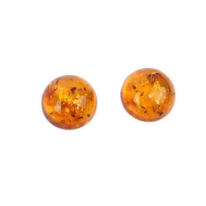 Amber Cabochon Double Trouble! Inc; 2 x Baltic Cognac Amber Round Cabochon 14mm