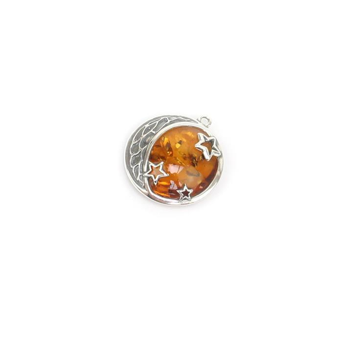 Baltic Cognac Amber Moon and Stars Sterling Silver Pendant Approx 21x23mm