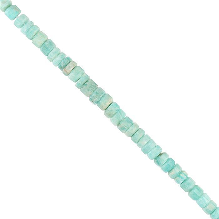70cts Amazonite Graduated Step Cut Wheels Approx 5x1 to 7x3mm, 18cm Strand.