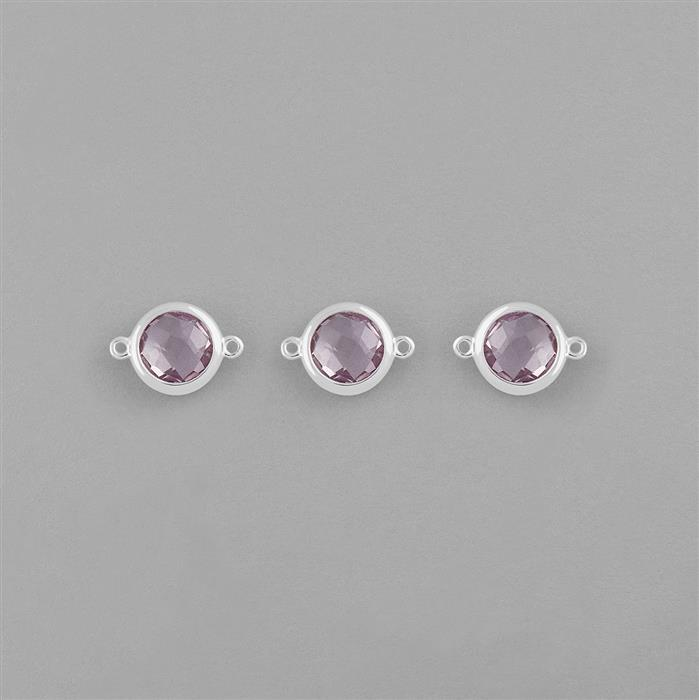 925 Sterling Silver Bezel Connectors Approx 14x10mm Inc. 5cts Pink Amethyst Briolette Cut Round Approx 8mm. (Pack of 3)