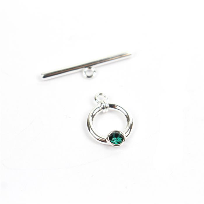 925 Sterling Swarovski Emerald Colour Toggle Clasp Approx 23mm Bar 11mm Ring