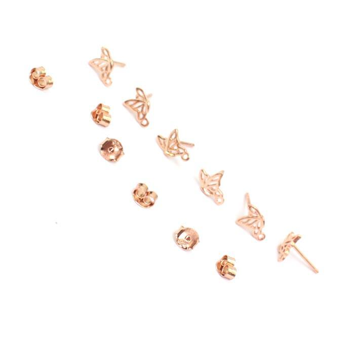 Rose Gold Plated 925 Sterling Silver Filigree Butterfly in Flight Earrings with Loop & Butterfly back 8x6mm 3 Pairs