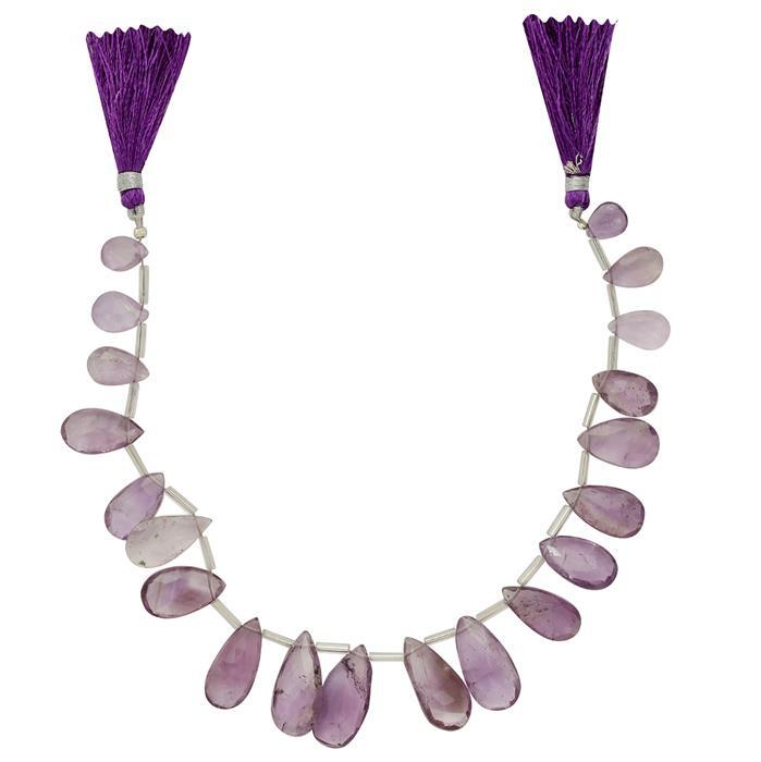 130cts Amethyst Graduated Faceted Elongated Pears Approx 10x6 to 19x11mm, 23cm Strand.