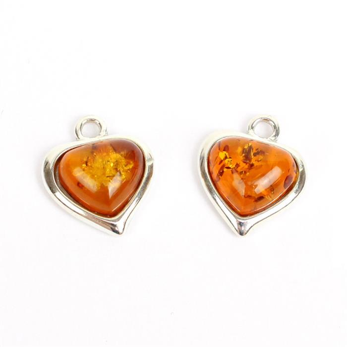 I Heart Amber! Inc; 2 x Sterling Silver Baltic Cognac Amber Heart Shape Cabochon Charm