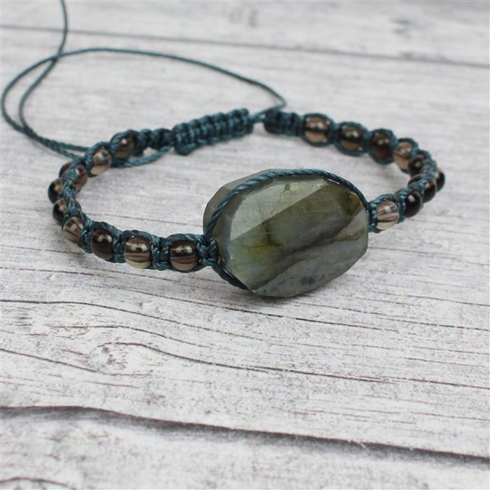 Stormy: Labradorite twisted, faceted ovals; 4mm amazonite & smokey quartz strands & cords