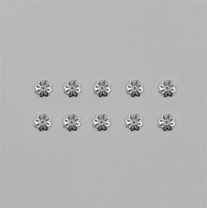 925 Sterling Silver Flower Bead Caps Approx 8mm (10pcs/Pack)