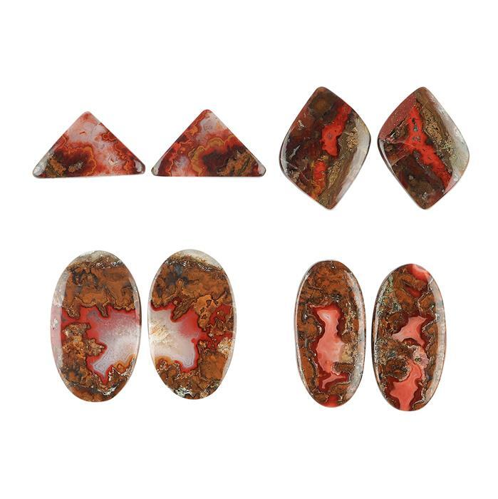 65cts Seam Agate Multi Shape Cabochon Assortment.