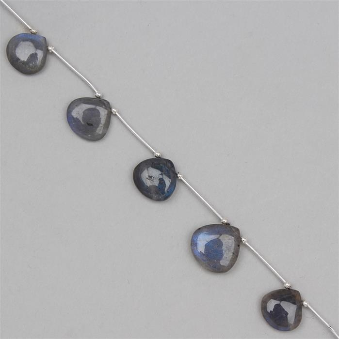 60cts Labradorite Graduated Plain Drops Approx 9 to 16mm, 18cm Strand.