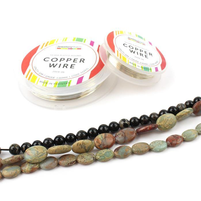 Dappled: Snakeskin Jasper puffy ovals in two sizes, Black Fossil Jasper rounds & SPlt wire