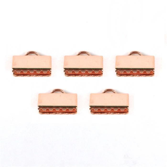 Rose Gold Plated Copper Fold Over Clasps Approx 16mm (5pcs)