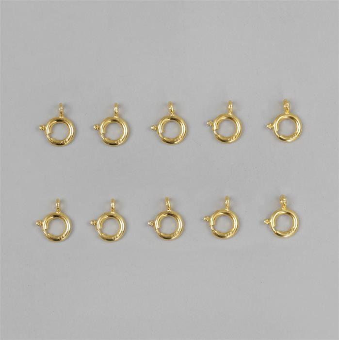 Gold Plated 925 Sterling Silver Bolt Ring Clasp Approx 10mm (10pcs)