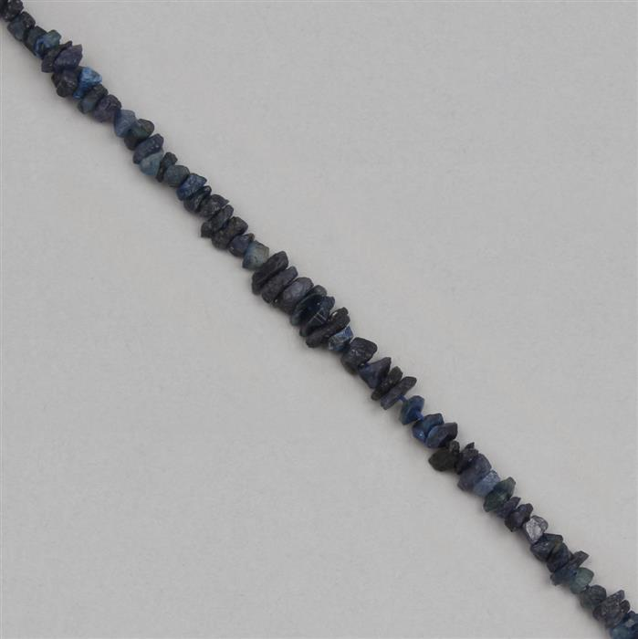 50cts Blue Sapphire Graduated Rough Medium Nuggets Approx 4x2 to 8x3mm, 17cm Strand.