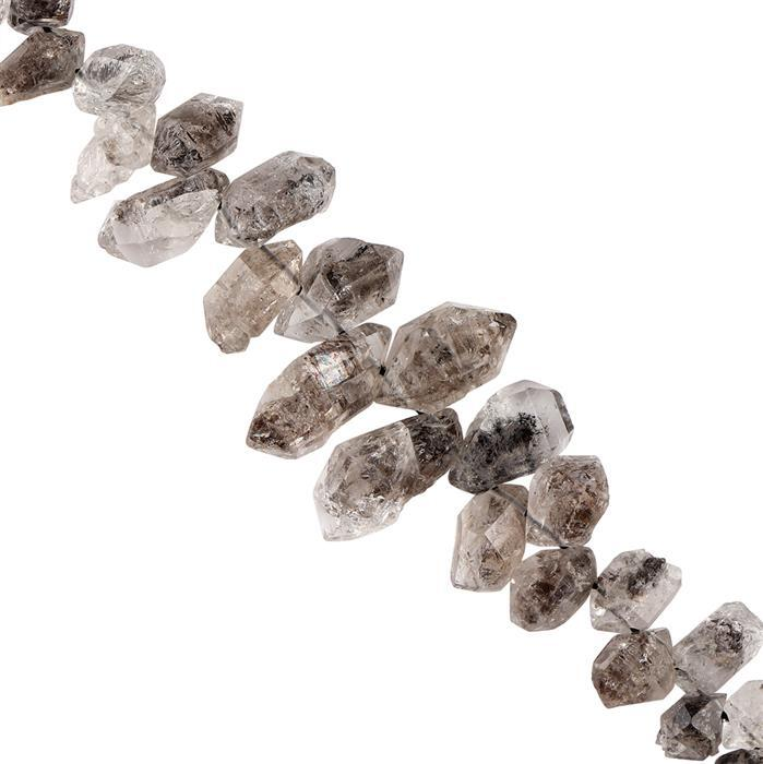100cts Herkimer Quartz Graduated Rough Medium Nuggets Approx 6x5 to 12x7mm, 18cm Strand.