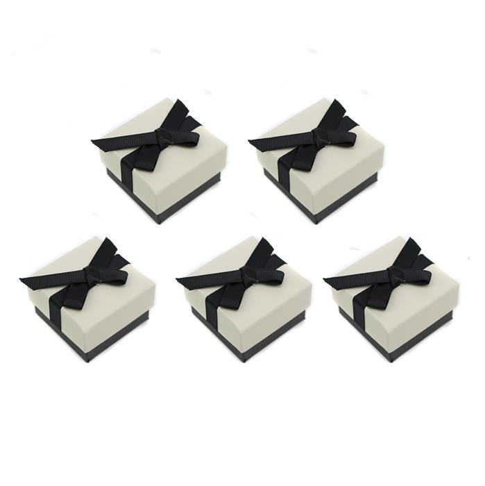 Cream Ring Box with Black Grosgrain Bow Approx 43 x 50 x 32mm, 5pk