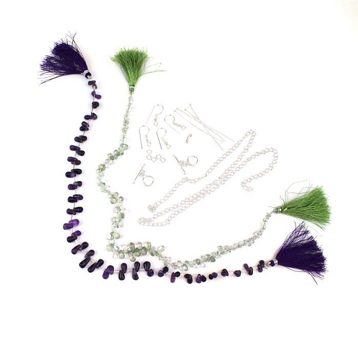 Passion Flower: 85cts Amethyst, 75cts Green Amethyst & Silver Plated Findings Pack