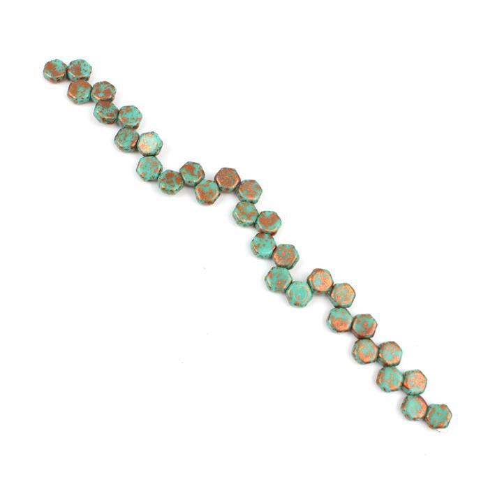 Honeycomb Copper Splash Turquoise Green Beads Approx 6mm (30PCS/ST)