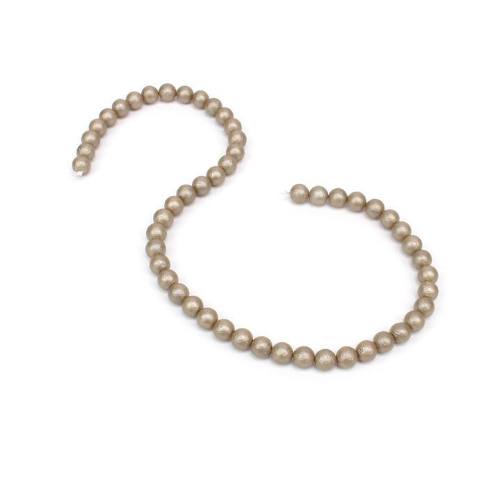 Cappachino Textured Shell Pearl Plain Rounds Approx 8mm, 38cm length