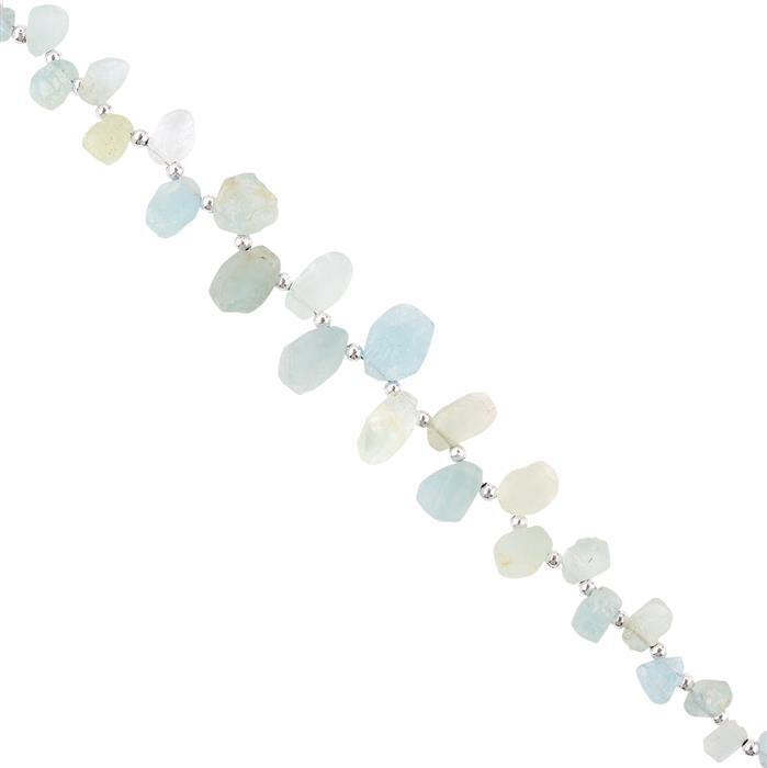 70cts Aquamarine Graduated Rough Slices Approx 6X4 to 13x8mm, 18cm Strand.