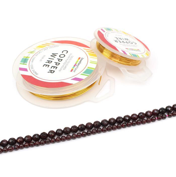 Golden Cherries: Red Garnet 5mm rounds & 7mm faceted rounds & 0.4mm & 1.0mm gold col wires