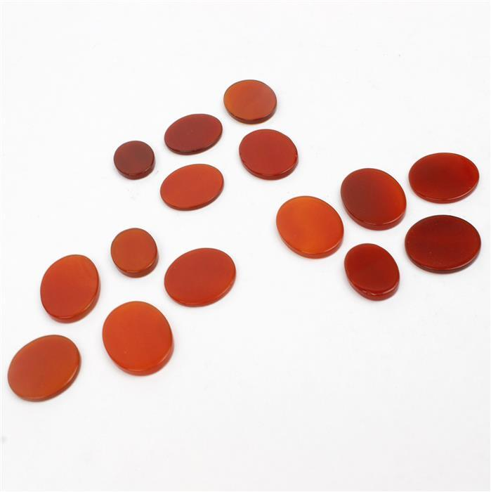 Tripple Trouble, 3x 12cts Red Agate , Flat Oval x 3, Flat Coin x 2 , 5 pc/set