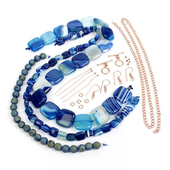 Beat the Blues; 620cts Blue Stripe Agate Puffy Squares 10 & 20mm, Faceted Blue Rounds, Findings